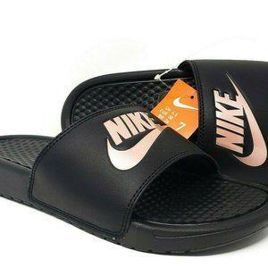 Nike Benassi JDI Black/Rose Gold Sport Sandals 7